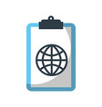 clipboard with global connection network image vector image vector image