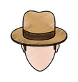 color pencil cartoon faceless man with hat and bow vector image vector image