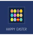 Colored Easter egg set dash line frame Card Flat vector image