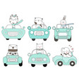 cute baby animal with car cartoon hand drawn vector image vector image