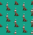 dog in christmas costume seamless pattern vector image vector image