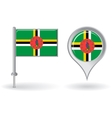 Dominica pin icon and map pointer flag vector image