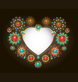 ethnic frame in shape heart vector image vector image