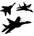 fighter aircrafts silhouettes vector image vector image
