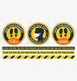 floor stickers collection social distancing vector image vector image