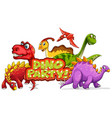 font design for word dino party with many vector image