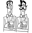 gentlemen black and white cartoon vector image