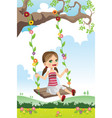 girl swinging on a tree vector image