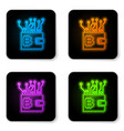 glowing neon cryptocurrency wallet icon isolated vector image vector image