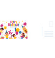 happy birthday postcard holiday card with cute vector image
