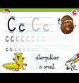 how to write letter c worksheet for kids vector image