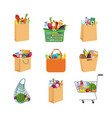 icons set shopping paper bags and carts flat vector image