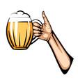 light beer mug in hand vector image
