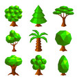 low poly trees isolated on white vector image vector image
