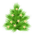 lush fir tree decorated with stars isolated vector image vector image