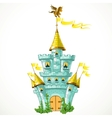magical fairytale blue castle with flags and green vector image