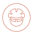 Man in bicycle helmet and glasses line icon vector image vector image