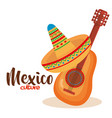 mexican culture traditional hat and guitar vector image vector image