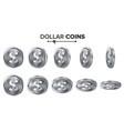 money dollar 3d silver coins set vector image vector image