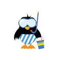 penguin ready for the beach vector image vector image