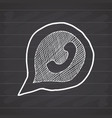 phone handset in speech bubble hand drawn icon on vector image