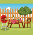 picnic table with tableclothes scene vector image