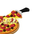 Pizza pepperoni and meatballs slice vector image vector image
