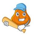 playing baseball hard shell character cartoon vector image vector image