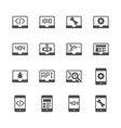 programming and coding in glyph icon set vector image