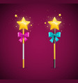 realistic detailed 3d magic wand set vector image