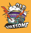 retro awesome music radio hand drawn vector image vector image