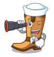 sailor with binocular old cowboy boots in shape vector image vector image