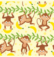 seamless pattern with funny monkey vector image