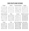 set 300 outline icons vector image