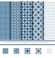 set of blue arabic pattern vector image vector image