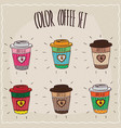 set of six different cute paper cup of coffee vector image vector image