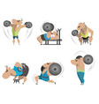 six bodybuilders on white background vector image