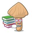 student with book inocybe mushroom mascot cartoon vector image vector image