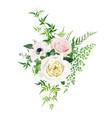 tender romantic floral bouquet rose anemone leaf vector image vector image
