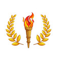 the torch with burning fire golden laurel branch vector image vector image