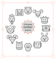 Thin line icons set Chinese Zodiac vector image vector image
