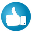 thumbs up on a blue background round vector image vector image