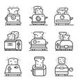 toaster icons set outline style vector image vector image
