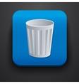 Trash symbol icon on blue vector image vector image