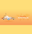 travel to australia airplane with attractions vector image vector image