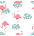 tropical flamingo seamless pattern background vector image vector image