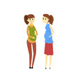 two beautiful pregnant women cartoon vector image vector image