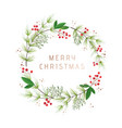 winter wreath vintage christmas holiday design vector image