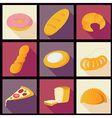 Collection of bread flat icons vector image