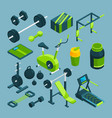 different equipment for bodybuilding and vector image